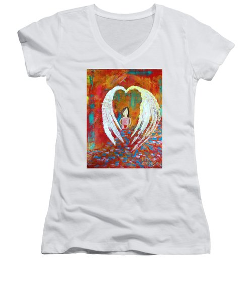 Surrounded By Love Women's V-Neck (Athletic Fit)