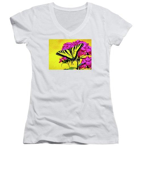 Women's V-Neck T-Shirt (Junior Cut) featuring the digital art Swallow Tail Feeding by James Steele