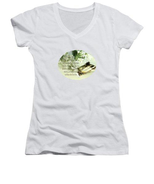 Swallowtail And Lilac Women's V-Neck T-Shirt (Junior Cut) by Anita Faye
