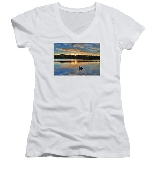 Swan At Sunset Women's V-Neck