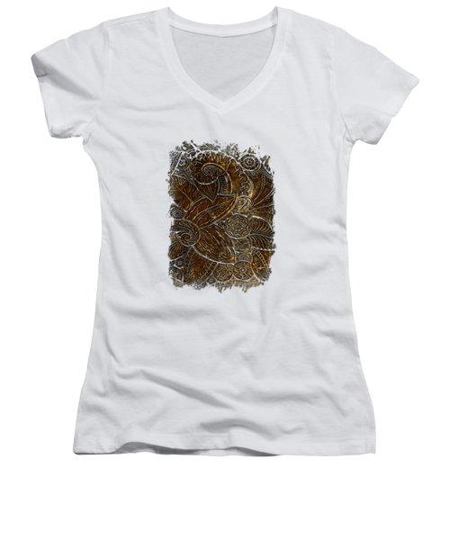 Swan Dance Earthy 3 Dimensional Women's V-Neck T-Shirt (Junior Cut) by Di Designs