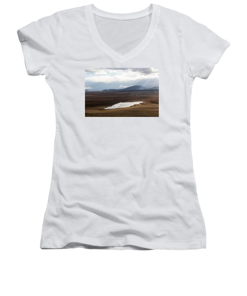 Women's V-Neck T-Shirt (Junior Cut) featuring the photograph Sweeping Plain And A Small Lake Between Mountain Foothills Near Fairplay In Park County by Carol M Highsmith