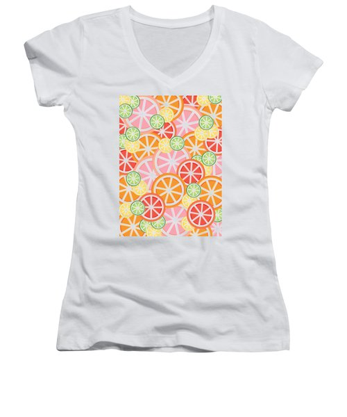 Sweet And Sour Citrus Print Women's V-Neck T-Shirt (Junior Cut) by Lauren Amelia Hughes