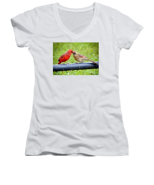 Sweet Cardinal Couple Women's V-Neck (Athletic Fit)