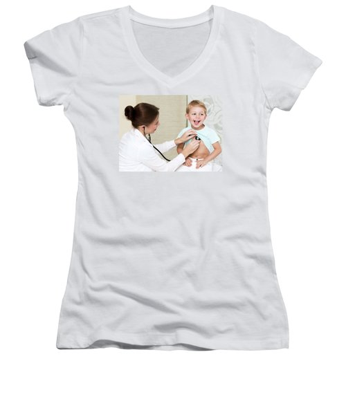 Sweet Child Visiting Doctor Women's V-Neck (Athletic Fit)