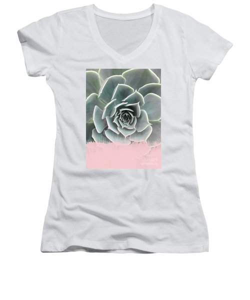 Sweet Pink Paint On Succulent Women's V-Neck