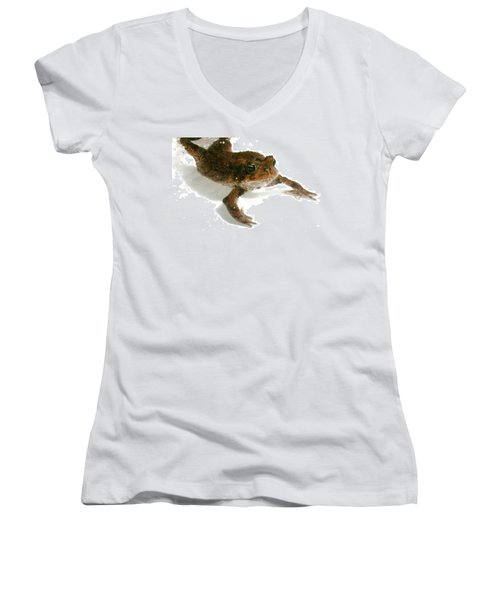 Women's V-Neck T-Shirt (Junior Cut) featuring the digital art Swimming Toad by Barbara S Nickerson