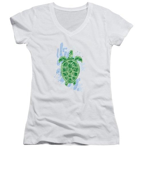 Swimming Turtle Women's V-Neck T-Shirt