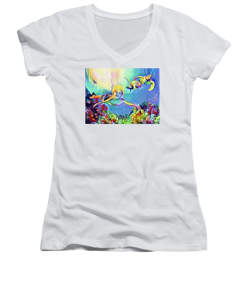 Swimming With Turtles Women's V-Neck (Athletic Fit)