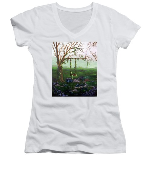 Swingin' With The Flowers Women's V-Neck (Athletic Fit)