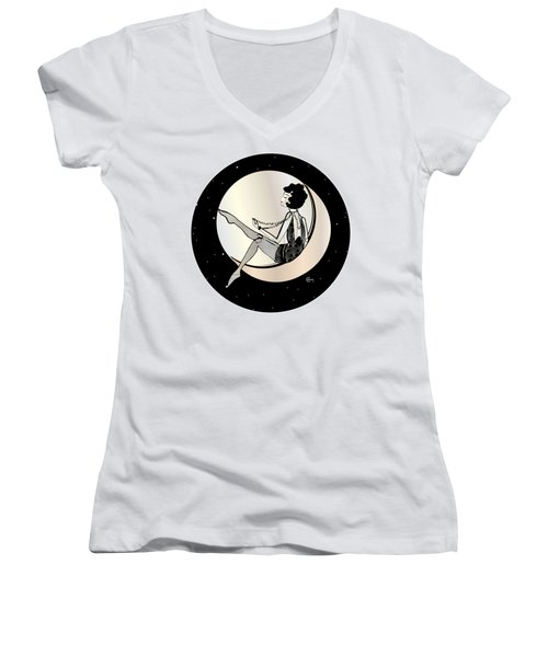 Swinging On The Moon Women's V-Neck (Athletic Fit)
