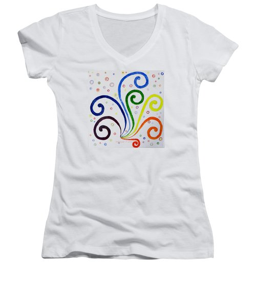 Women's V-Neck T-Shirt (Junior Cut) featuring the painting Swirls by Sonali Gangane