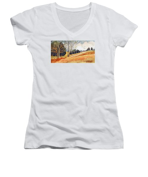 Switchboard Rd Women's V-Neck T-Shirt (Junior Cut) by Katherine Miller