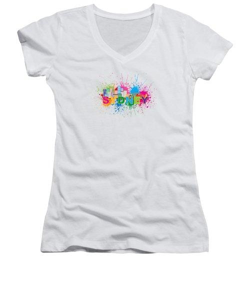 Sydney Harbor Skyline Paint Splatter Text Illustration Women's V-Neck T-Shirt