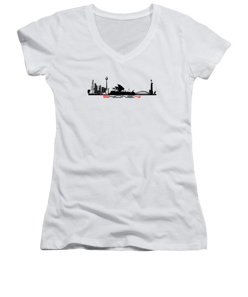 Sydney Skyline Black Women's V-Neck T-Shirt (Junior Cut) by Justyna JBJart