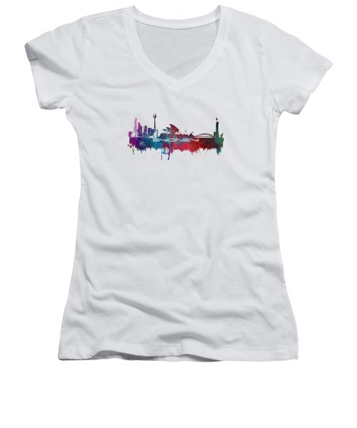 Sydney Skyline City Blue Women's V-Neck T-Shirt (Junior Cut) by Justyna JBJart
