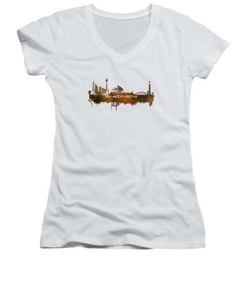 Sydney Skyline City Brown Women's V-Neck T-Shirt (Junior Cut) by Justyna JBJart