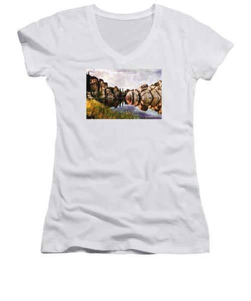 Sylvan Lake - Black Hills Women's V-Neck T-Shirt (Junior Cut) by Ellen Heaverlo
