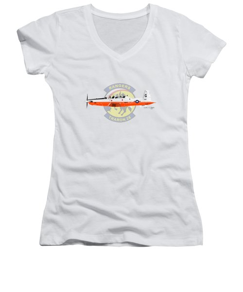 T-6b Texan II Vt28 Women's V-Neck T-Shirt (Junior Cut) by Arthur Eggers