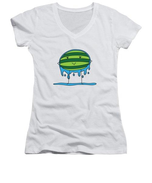 T H E . E L E M E L O N S ______________ W A T E R M E L O N Women's V-Neck T-Shirt