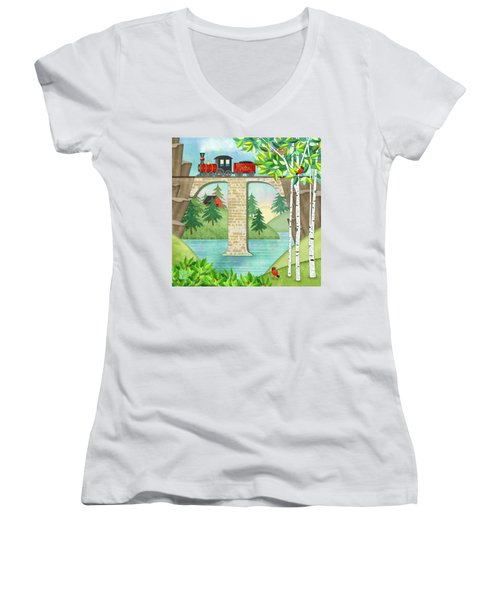 T Is For Train And Train Trestle Women's V-Neck