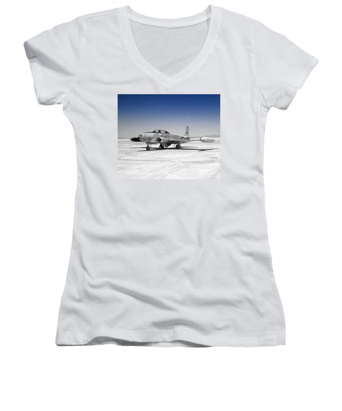 T33 A Jet Women's V-Neck T-Shirt (Junior Cut) by Greg Moores