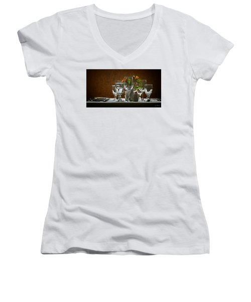 Women's V-Neck T-Shirt (Junior Cut) featuring the photograph Table Setting by Joe Bonita