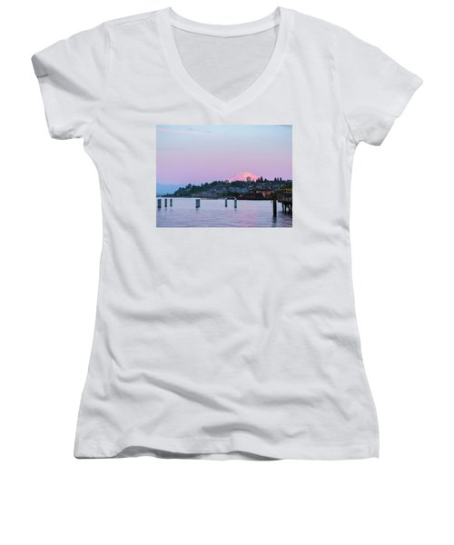Tacoma Sunset Women's V-Neck T-Shirt (Junior Cut) by Ken Stanback