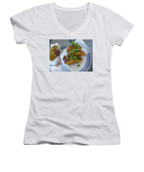 Women's V-Neck T-Shirt featuring the photograph Tacos Almost Mirrored by Marie Neder