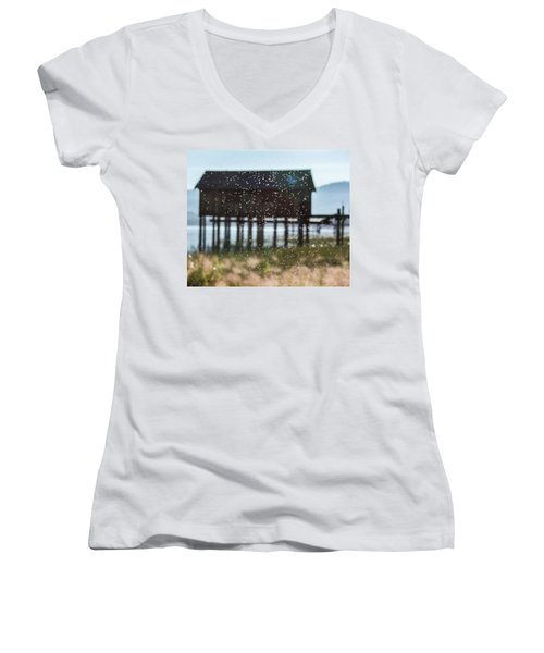 Tahoe Boat House Flies Women's V-Neck (Athletic Fit)