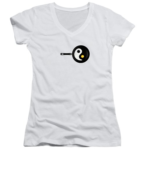 Women's V-Neck T-Shirt (Junior Cut) featuring the photograph Taijitu by Gert Lavsen