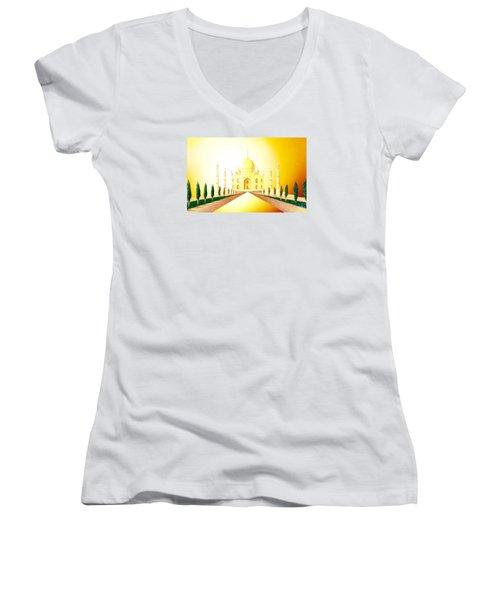 Taj  Mahal Women's V-Neck T-Shirt (Junior Cut) by Hartmut Jager