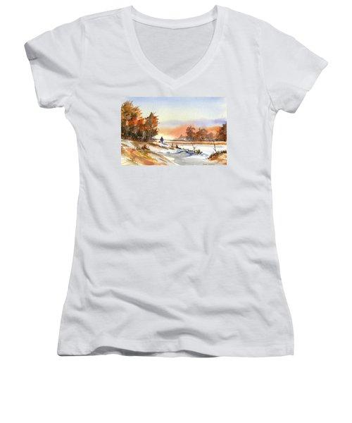 Taking A Walk Women's V-Neck T-Shirt (Junior Cut) by Debbie Lewis