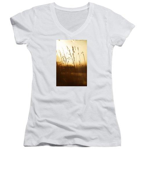 Tall Grass In The Morning Women's V-Neck T-Shirt (Junior Cut) by Nikki McInnes