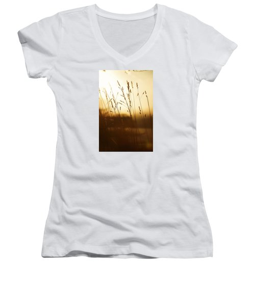 Tall Grass In The Morning Women's V-Neck T-Shirt