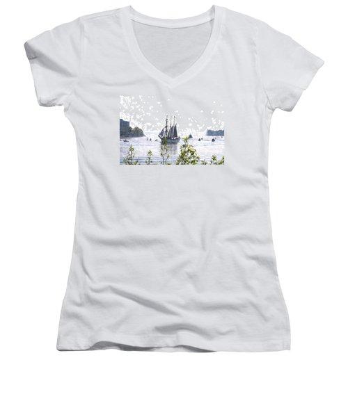Tall Ship Tswc Women's V-Neck T-Shirt (Junior Cut)