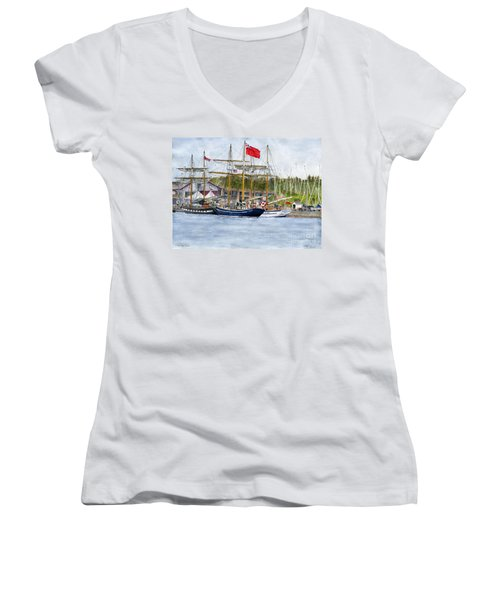 Women's V-Neck T-Shirt (Junior Cut) featuring the painting Tall Ships Festival by Melly Terpening