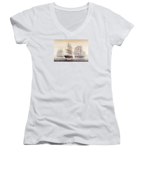 Tall Ships Women's V-Neck T-Shirt (Junior Cut) by James Williamson