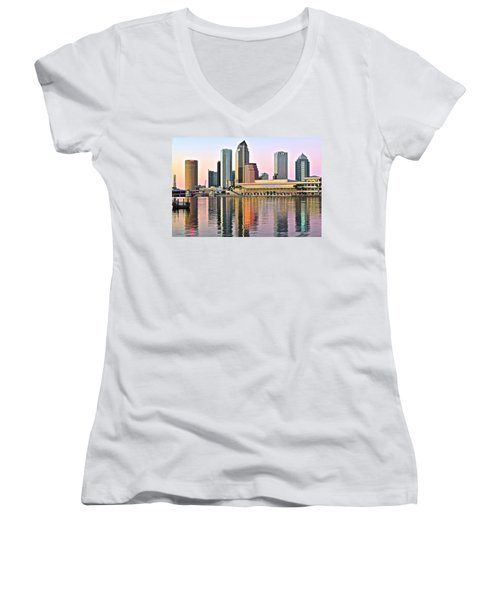 Tampa In Vivid Color Women's V-Neck T-Shirt (Junior Cut) by Frozen in Time Fine Art Photography