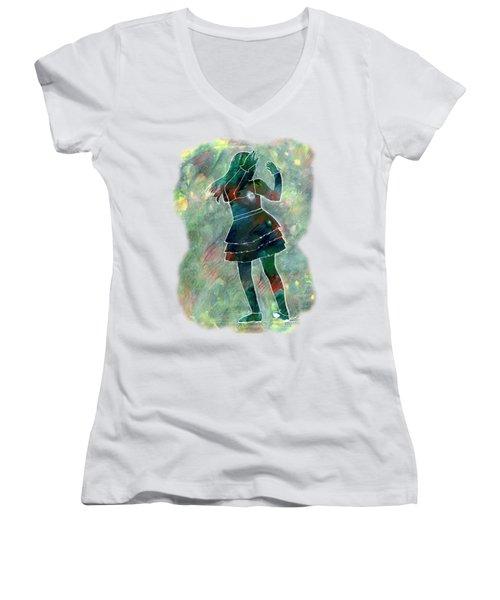 Tap Dancer 1 - Green Women's V-Neck T-Shirt (Junior Cut) by Lori Kingston