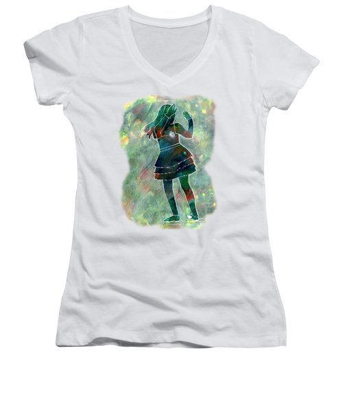Tap Dancer 1 - Green Women's V-Neck T-Shirt