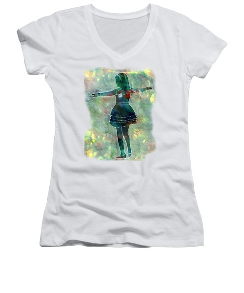 Tap Dancer 2 - Green Women's V-Neck T-Shirt