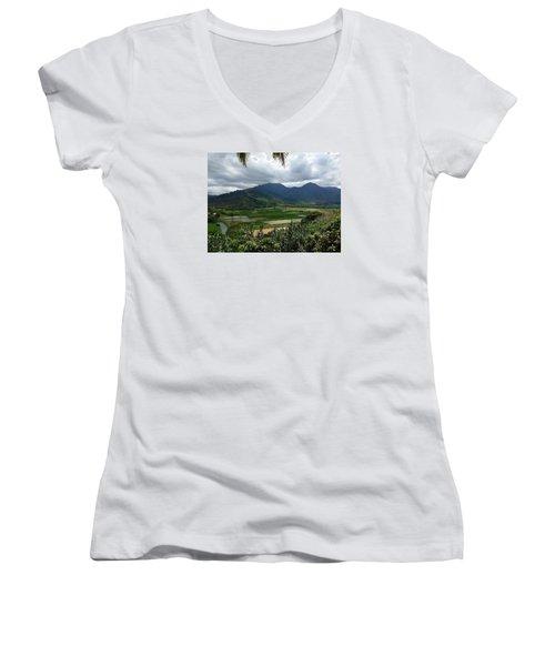 Women's V-Neck T-Shirt (Junior Cut) featuring the photograph Taro Fields On Kauai by Brenda Pressnall
