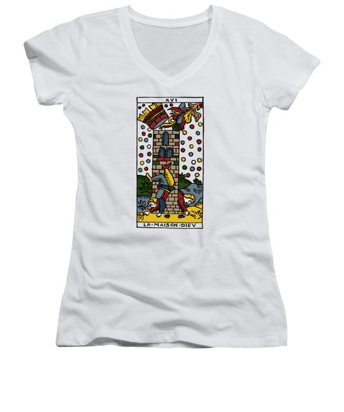 Tarot Card Poorhouse Women's V-Neck T-Shirt (Junior Cut) by Granger