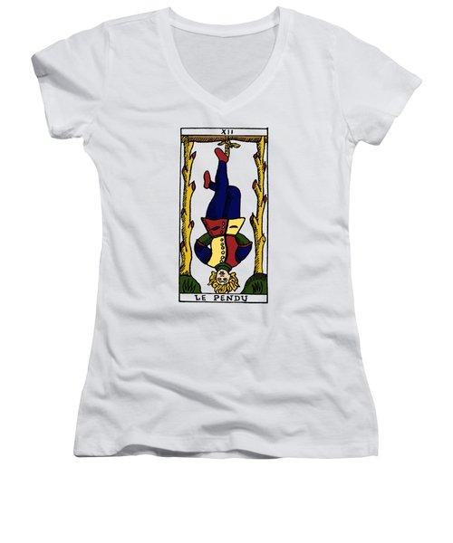 Tarot Card The Hanged Man Women's V-Neck T-Shirt