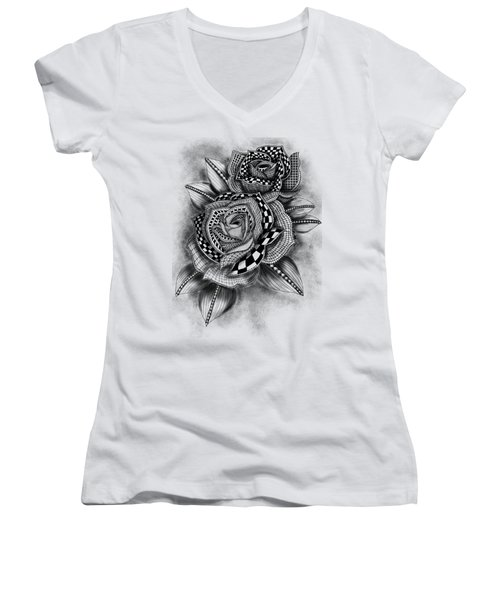Tattoo Rose Greyscale Women's V-Neck