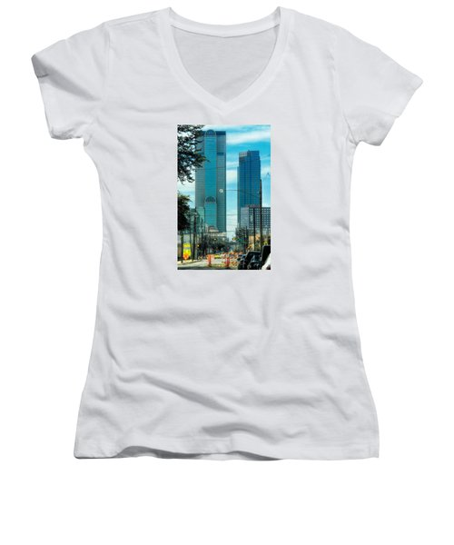 Women's V-Neck T-Shirt (Junior Cut) featuring the photograph Tax Dollars At Work by Joan Bertucci