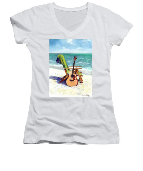 Women's V-Neck featuring the painting Taylor At The Beach by Andrew King