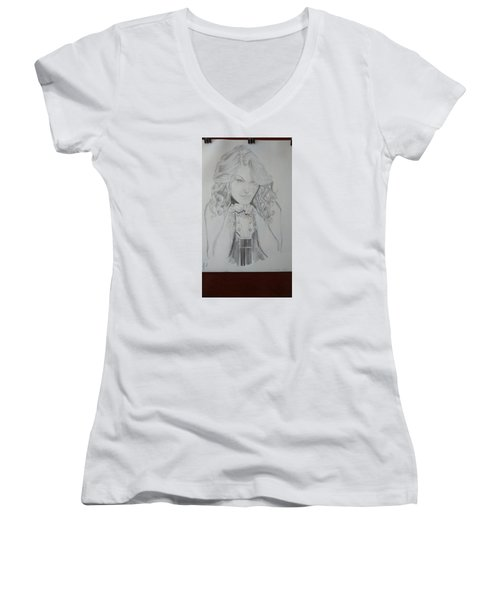 Taylor Swift Women's V-Neck T-Shirt (Junior Cut) by Jiyad Mohammed nasser