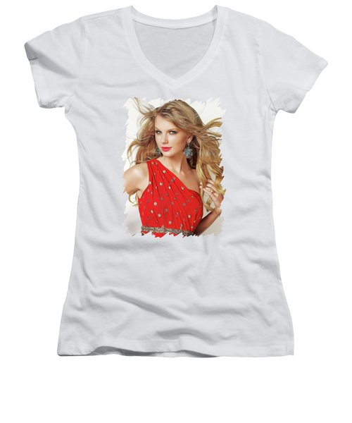 Taylor Swift Women's V-Neck T-Shirt (Junior Cut) by Twinkle Mehta